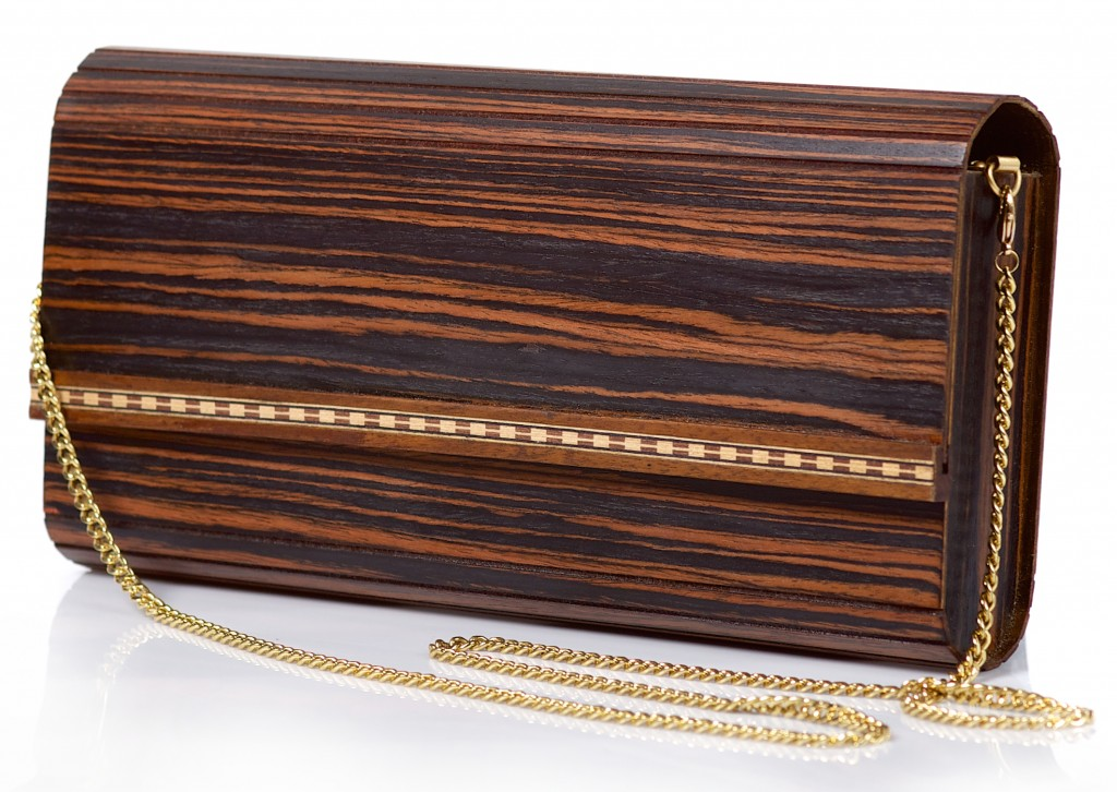 Clutch bag with chain Wooditbe - dark makassar veneer